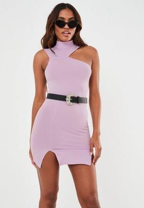 Missguided Lilac Rib Cut Out Double Split Mini Dress
