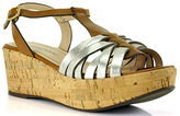 Gastone Lucioli 4051 - Brown and Silver Cork Wedge Sandal