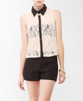 FOREVER 21 Sleeveless Textured Lace Shirt