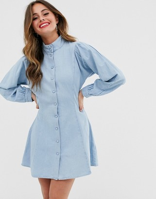 Asos Design DESIGN denim high neck sleeve detail shirt dress-Blue