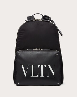 Valentino Garavani Uomo Nylon Vltn Backpack With Leather Front Pocket Man Black Calfskin 100% OneSize