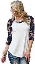 Cocobla Hippie Women Floral Printing Half Sleeve Casual Splice Shirt Tops