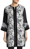 Andrew Gn Zip-Front Crepe Lace Coat