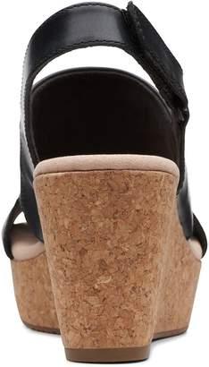 Clarks Annadel Ivory Leather Wedge Sandals - Black