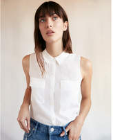 Express petite solid sleeveless city shirt by