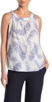 Amour Vert Leighton Feather Printed Sleeveless Shirt