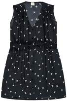 Des Petits Hauts Solene Bird Print Belted Silk Dress