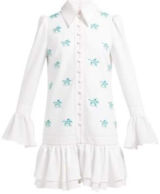 Carolina Herrera Horse-applique Crepe Mini Dress - Womens - White Multi