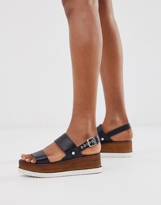 Office Mara black leather wooden flatform mix sandals