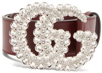 Gucci GG Crystal-embellished Leather Belt - Burgundy