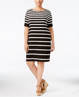 Karen Scott Plus Size Striped Sheath Dress, Only at Macy's