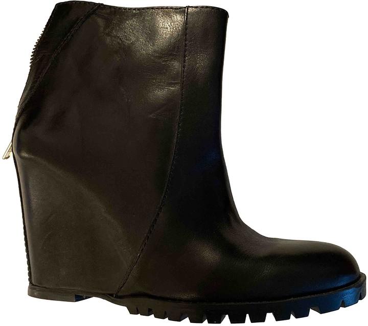 Mini Market Minimarket Black Leather Boots