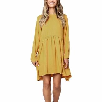 HEETEY Autimun Casual Fashion Women Solid Color Long Sleeve O-Neck Fold Casual Dress Swing Shift Dress Plain T Shirt Dress S-XL Yellow