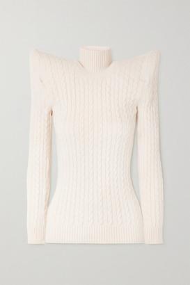 Balenciaga Cable Knit-effect Velvet Turtleneck Sweater - White