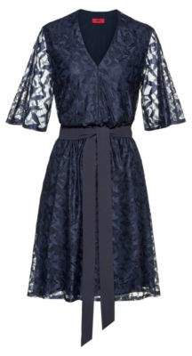 HUGO V-neck lace dress with tie belt