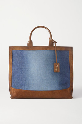 Saint Laurent Leather-trimmed Denim And Suede Tote - Navy