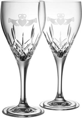Belleek Pottery Claddagh White Wine Glass Pair