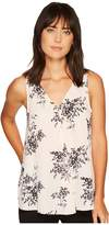 Vince Camuto Sleeveless Delicate Bouquet V-Neck Drape Front Blouse
