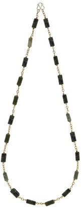 Aeravida Handmade Delightful Jade Blocks Gold Vermeil Brass Necklace