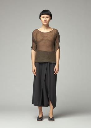 Issey Miyake Women's Chiffon Twist Short Sleeve Top in Dark Brown Size 2
