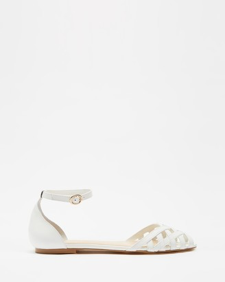 Atmos & Here Atmos&Here - Women's White Flat Sandals - Dana Leather Woven Flats - Size 5 at The Iconic