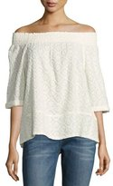 Current/Elliott The Embroidered Off-the-Shoulder Smocked Tee, Dirty White