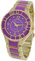 A.N. Enterprises Watches purple/gold - Purple & Goldtone Stripe Bracelet Watch