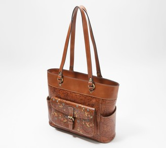Patricia Nash Leather Bolsena Top Zip Tote