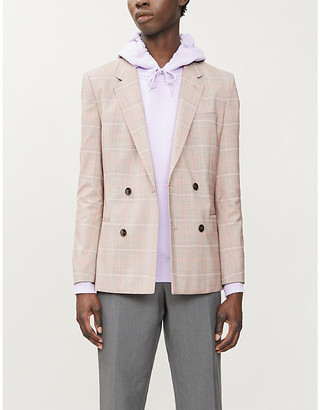 HUGO Checked slim-fit wool-blend blazer