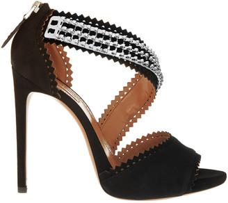 Alaia Embellished Laser-cut Suede Sandals