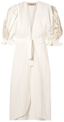 Adriana Degreas Porto Broderie Anglaise-trimmed Cotton-jacquard Robe