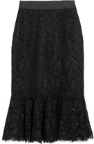 Dolce & Gabbana Fluted Guipure Lace Skirt - Black