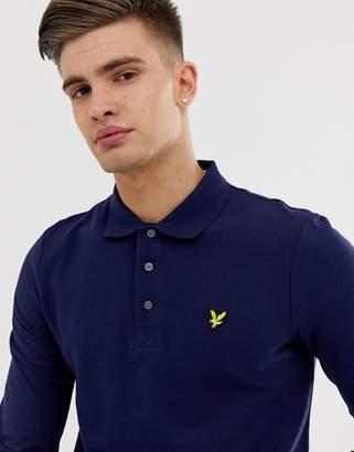Lyle & Scott logo pique long sleeve polo in navy