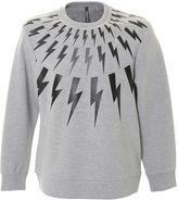 Neil Barrett Lightnings Grey And Black Neoprene Sweater