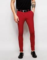 Asos Super Skinny Suit Pants In Red