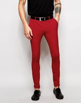 Asos Super Skinny Suit Trousers In Red