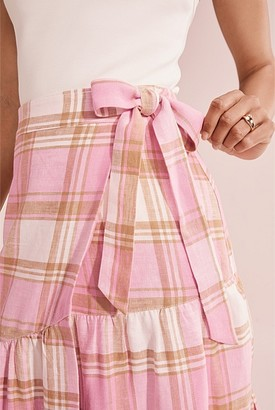 Country Road Organically Grown Linen Check Skirt