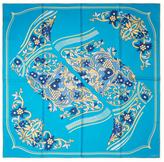 "Cartier Vintage Blue Floral Silk Scarf, 34"" x 34"""