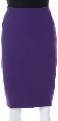 Escada Purple Stretch Crepe Ruched Back Pencil Skirt M