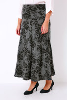 Yours Clothing Grey Marl & Black Floral Print Jersey Maxi Skirt With Panel Detail