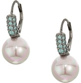 Majorica 10mm Round Pearl with CZ Sterling Silver Earrings Earring