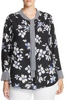 NYDJ Plus Mixed Print Tie Neck Blouse