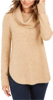 Style&Co. Style & Co Cowl-Neck Waffle-Knit Sweater