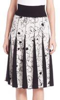 Oscar de la Renta Floral Printed Pleated Skirt