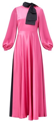 Roksanda Lela Bow-collar Silk-satin Dress - Pink