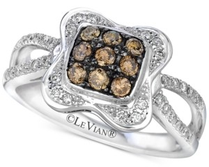 LeVian Le Vian Chocolatier Diamond Cluster Ring (1/2 ct. t.w.) in 14k White Gold