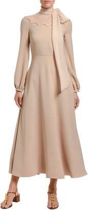 Valentino Cady Couture Tie-Neck Long-Sleeve Dress