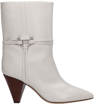 Isabel Marant Lilet High Heels Ankle Boots In White Leather