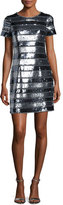 Aidan Mattox Short-Sleeve Embellished Banded Cocktail Dress, Gunmetal