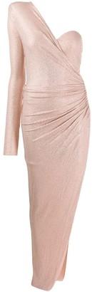 Alexandre Vauthier Rhinestone-Embellished One-Sleeve Dress